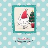 Время рождества с котом иллюстрация вектора