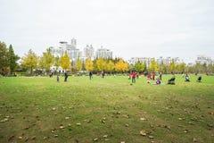 Время семьи в парке принятом в Шанхай, Китай Стоковое фото RF