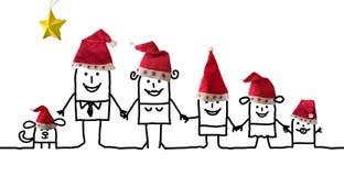 Время семьи и рождества мультфильма иллюстрация штока