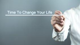Время сочинительства руки изменить вашу жизнь Дело, концепция мотивации стоковое фото rf