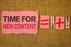 Время сочинительства текста почерка для нового содержания Мешки джута концепции обновления издания авторского права смысла концеп Стоковые Фотографии RF