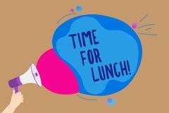 Время сочинительства текста почерка для обеда Момент смысла концепции для того чтобы иметь перерыв на обед от работы Relax съесть иллюстрация штока