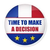 Время сделать кнопку штыря решения с флагом Франции Стоковая Фотография RF