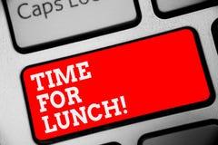 Время текста сочинительства слова для обеда Концепция дела на момент для того чтобы иметь перерыв на обед от работы Relax съесть  стоковая фотография rf