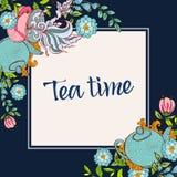 время чая питья к Ультрамодный плакат Стоковые Изображения