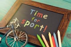 Время для спорта - написанного с crayons на доске Стоковое Фото