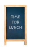 Время для текстового сообщения обеда на деревянной доске рамки Стоковые Фото