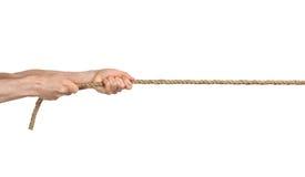 вручает веревочку тяги Стоковое Изображение RF