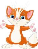 вручает его котенка поднимая красный цвет Стоковые Фото