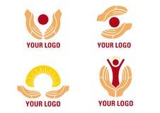 вручает помогая логос Стоковое Изображение
