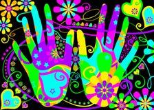 вручает hippie стилизованный бесплатная иллюстрация