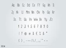 Вручите алфавит вектора эскиза чертежа, тонкий рукописный шрифт Стоковое Изображение