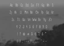 Вручите алфавит вектора эскиза чертежа, тонкий рукописный шрифт Стоковая Фотография RF