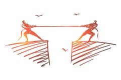 Вручите веревочку вычерченных людей волоча к различным сторонам Стоковое Изображение RF