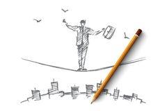 Вручите вычерченного бизнесмена балансируя на веревочке над городом Стоковая Фотография