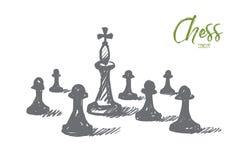 Вручите вычерченного короля шахмат между пешками с литерностью Стоковое фото RF