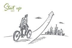 Вручите вычерченного человека идя вверх на велосипед с литерностью Стоковое Изображение