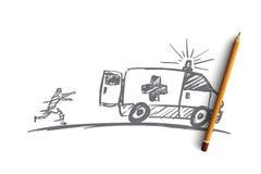 Вручите вычерченного человека пробуя уловить вверх по автомобилю машины скорой помощи Стоковая Фотография RF