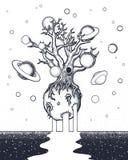 Вручите вычерченное абстрактное дерево тайны на луне в глубоком космосе Стоковые Изображения