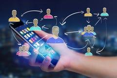 Вручите вычерченное взаимодействие сети с различной группой людей дальше Стоковые Изображения