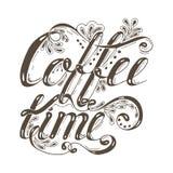 Вручите вычерченное время кофе фразы литерности оформления изолированное на белой предпосылке иллюстрация вектора