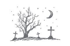 Вручите вычерченное кладбище хеллоуина, сухую древесину и луну Стоковые Фотографии RF