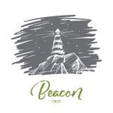 Вручите вычерченное освещение маяка на ноче, литерности Стоковое Изображение