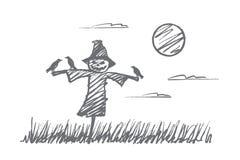 Вручите вычерченное чучело хеллоуина с воронами на ноче Стоковые Фотографии RF