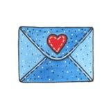 Вручите вычерченной акварели голубой конверт изолированный на белой предпосылке иллюстрация штока