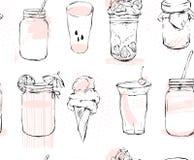 Вручите вычерченной векторной графике безшовную картину с опарником мороженого, стеклянных, smoothie, milkshake, лимонадом, варен Стоковые Изображения RF