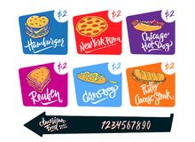 Вручите вычерченной иллюстрации вектора популярную американскую собаку мозоли разнообразий еды, хот-дога Чикаго, гамбургер, сыр Ф Стоковое Изображение