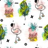 Вручите вычерченной потехе временени конспекта вектора безшовную картину с розовым фламинго, тропическими листьями ладони и анана Стоковые Фото