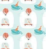 Вручите вычерченной потехе временени чертежа шаржа вектора безшовную иллюстрацию картины с собаками катания на скейтбордах и соба иллюстрация штока