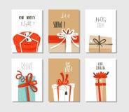 Вручите вычерченной потехе конспекта вектора с Рождеством Христовым карточки шаржа времени или маркируйте установленное собрание  Стоковая Фотография RF