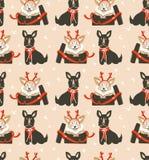Вручите вычерченной потехе конспекта вектора с Рождеством Христовым иллюстрации шаржа времени безшовная картина с милыми смешными бесплатная иллюстрация