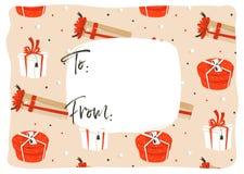 Вручите вычерченной потехе конспекта вектора с Рождеством Христовым бирку приветствию иллюстрации шаржа времени с много красочный бесплатная иллюстрация
