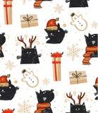 Вручите вычерченной потехе конспекта вектора с Рождеством Христовым шарж времени деревенская праздничная безшовная картина с милы бесплатная иллюстрация