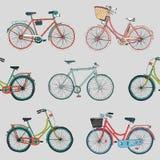 Вручите вычерченному вектору безшовную картину с велосипедами города Стоковая Фотография