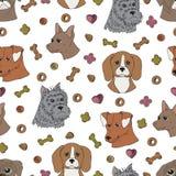 Вручите вычерченному вектору безшовную картину с головами dog's Стоковые Изображения RF