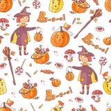 Вручите вычерченному вектору безшовную картину с элементами хеллоуина: костюм Стоковое Изображение