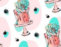 Вручите вычерченному вектору милый день рождения или wedding безшовную картину с иллюстрацией торта с точками чернил и суккулентн иллюстрация вектора