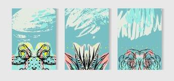 Вручите вычерченному вектору тропическое собрание комплекта карточек с succulents и заводами кактуса Скандинавская иллюстрация ст Стоковые Фотографии RF