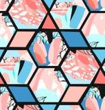 Вручите вычерченному вектору художнической картину текстурированную универсалией абстрактную безшовную с формами, текстурами и пр Стоковые Фото