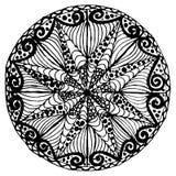 Вручите вычерченному вектору monochrome эскиз мандалы, элемент дизайна стиля doodle, этнический талисман для печати бесплатная иллюстрация