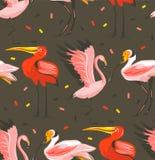 Вручите вычерченному временени шаржа конспекта вектора графические иллюстрации художническая безшовная картина с экзотическое тро бесплатная иллюстрация