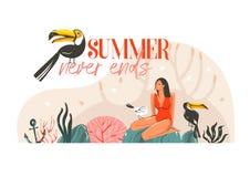 Вручите вычерченному временени шаржа конспекта вектора графическую карточку шаблона иллюстрации с девушкой, toucan птицами на сце Стоковая Фотография RF