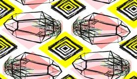 Вручите вычерченному конспекту вектора безшовную картину при terrarium и суккулентные заводы в пастельном цвете изолированные на  Стоковые Фото