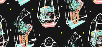Вручите вычерченному конспекту вектора безшовную картину с грубым terrarium и суккулентными заводами в пастельных цветах на черно Стоковое Фото