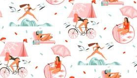 Вручите вычерченному конспекту вектора графическое временя шаржа плоские иллюстрации безшовная картина с девушками спорта красоты иллюстрация вектора