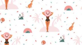 Вручите вычерченному конспекту вектора графическое временя шаржа плоские иллюстрации безшовные картины с девушкой и собакой на Стоковое Фото